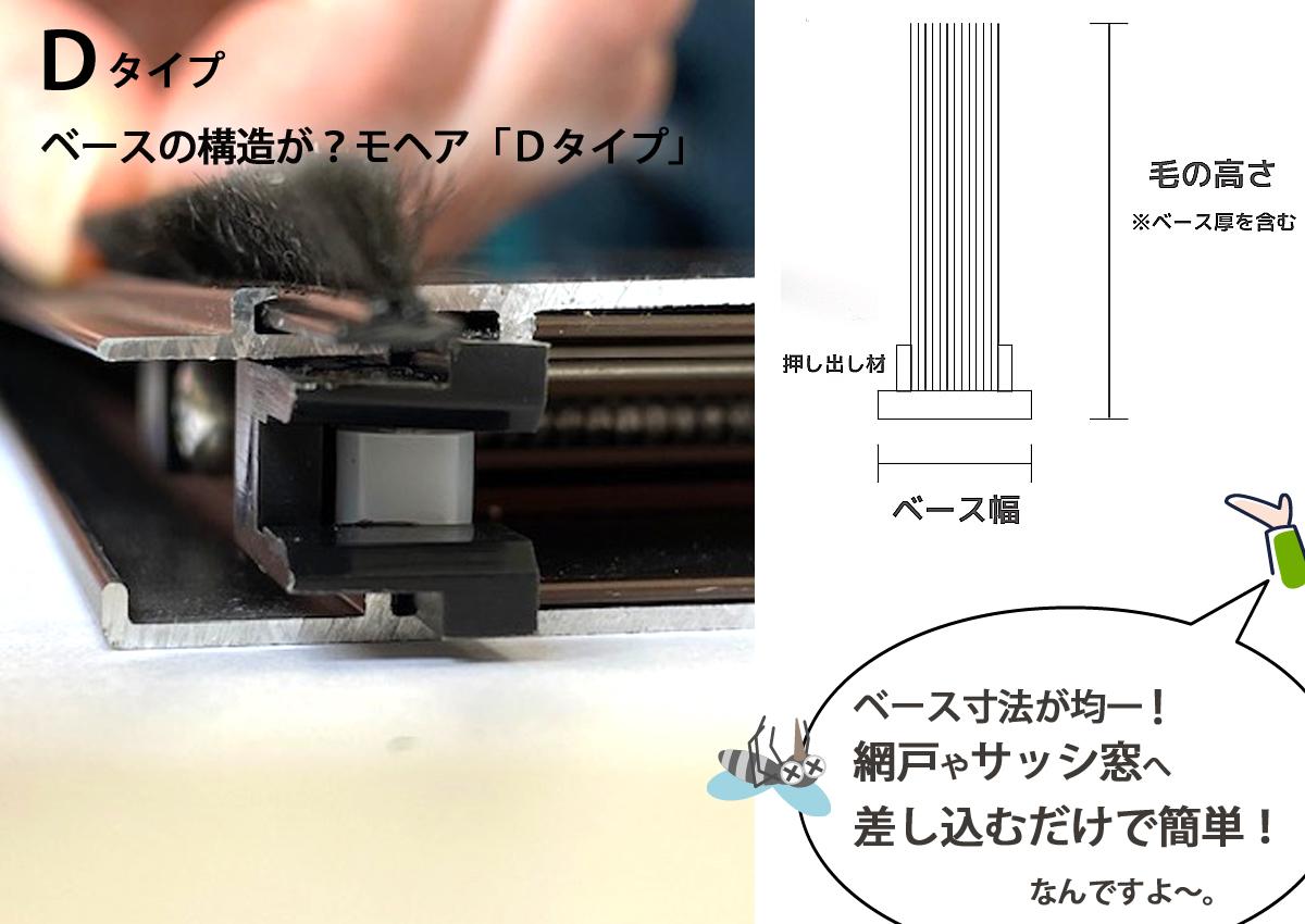 <Dタイプ-モヘアの特徴>網戸の隙間からの虫の侵入を防ぐ押し出し材を採用。